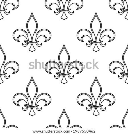 Fleur De Lis Seamless Pattern, Fleur-De-Lys Or Flower-De-Luce, The Decorative Stylized Lily Vector Art Illustration Photo stock ©