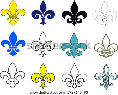 fleur de lis set. Fleur de Lis symbol icons of different types. Isolated vector sign, heraldic French symbol on white. Royal French heraldry design elements, medieval design  fleur-de-lis Photo stock ©
