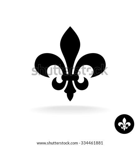 Fleur de lis simple elegant black silhouette logo Photo stock ©