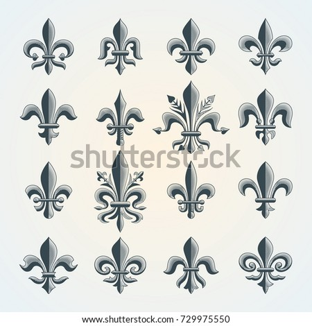 Fleur-de-lis vintage symbols set. Heraldic lily. Royal french heraldry design elements for coat of arms, emblem or medieval design.