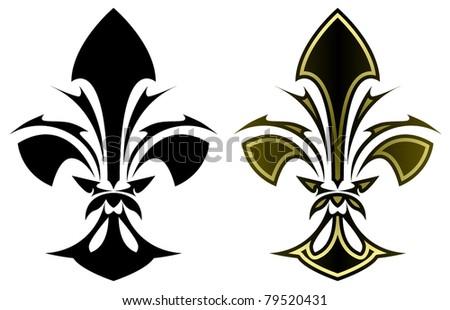 Fleur de lys symbol in stylized tattoo form