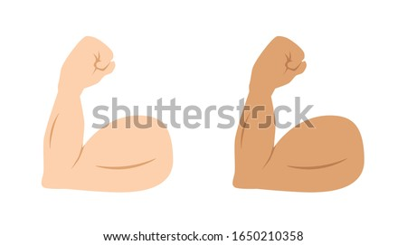flexed biceps emoji, strong emoji muscle, vector illustration ストックフォト ©