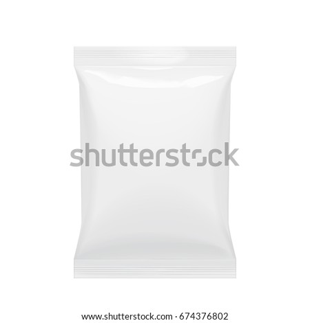 Flexible bag of Foil. Food snack pillow Realistic package. Polyethylene packing of goods. Mock up for brand template. vector illustration.