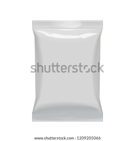 Flexible bag of Foil in Gray color. Food snack pillow Realistic package. Polyethylene packing of goods. Mock up for brand template. vector illustration.
