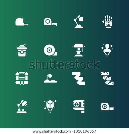 flexible icon set. Collection of 16 filled flexible icons included Measuring tape, Measurement, Hologram, Desk lamp, Bouncy castle, Straw, Exoskeleton
