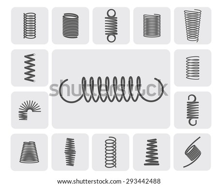 Flexible metal spiral springs flat icons set isolated vector illustration