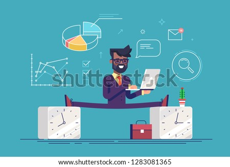 Flexible work time schedule concept. Part time work. Handsome black businessman between 2 watches. Modern business character. Flat vector illustration.