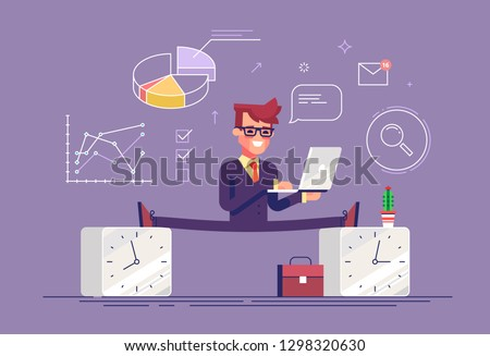 Flexible work time schedule concept. Part time work. Handsome businessman between 2 watches. Modern business character. Flat vector illustration.