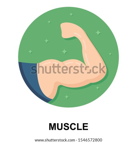 Flexing bicep muscle strength or strong power vector icon for exercise apps and websites