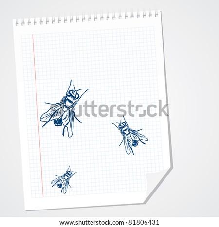 Flies doodle vector