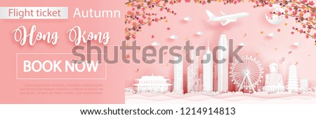 Flight and ticket advertising template with travel to Hong Kong in autumn season with falling maple leaves and  famous landmarks in paper cut style vector illustration