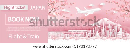 Flight and ticket advertising template with travel to Japan concept, Japan famous landmarks in paper cut style vector illustration