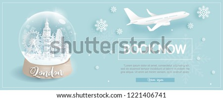 Flight and ticket advertising template with travel to London, England in winter season with famous landmarks in paper cut style vector illustration