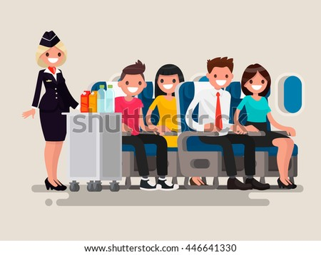 flight attendant serving drinks