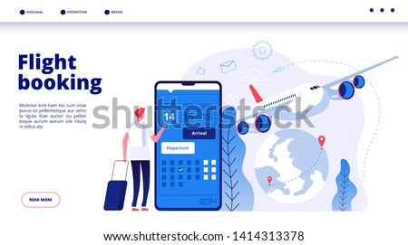 Flight booking. Online budget travel booking in internet plane flights reservation vacation holiday vector travelling service concept