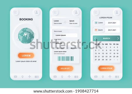 Flight booking unique neomorphic design kit. Online air tickets search and reservation, departure and arrival destinations, calendar. UI UX templates set. Vector illustration of GUI for mobile app.
