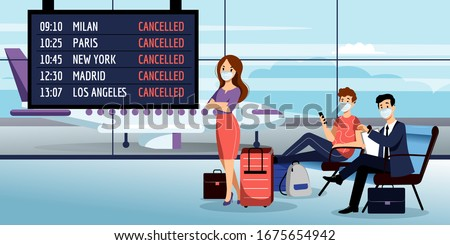 Flight cancelled due to coronavirus epidemic. Sick passengers in medical protection masks waiting at airport terminal. Vector illustration. Stopping flights traveling during covid-19 outbreak