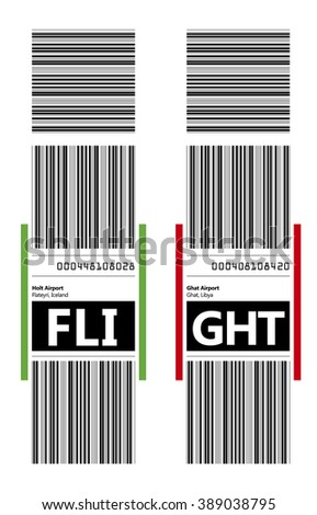 FLIGHT. Checked-in baggage tag