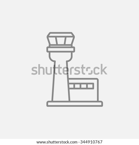 flight control tower line icon