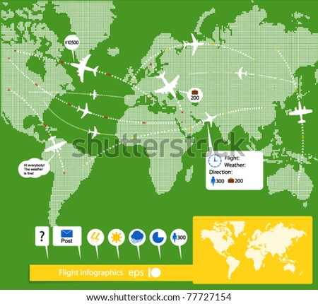Flight infographics. Civil airplanes trajectories on world map with notes