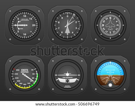 Flight instrument on a black dashboard.