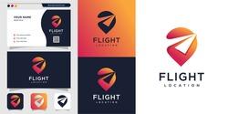 Flight location logo and business card design. pin, map, location, flight, plane, icon Premium Vector