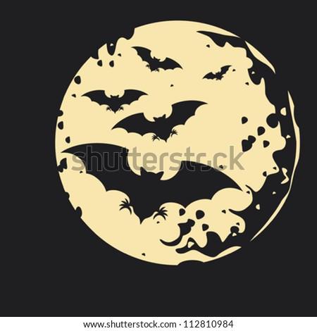 flight of a bat (illustrations of halloween night with bats flying over moon, dark night)