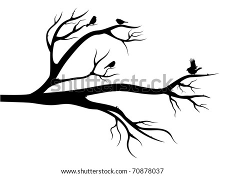 Flight of little birds on the tree. Black silhouette image on white background