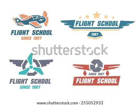 flight school emblems. vector...