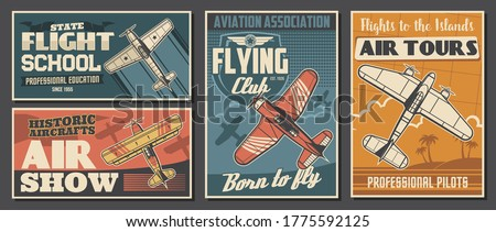 Flight school tours and club posters, aviation air show, professional pilot association, vector. Civil aviation, airplane island flight trips, propeller airplane show vintage retro posters Сток-фото ©