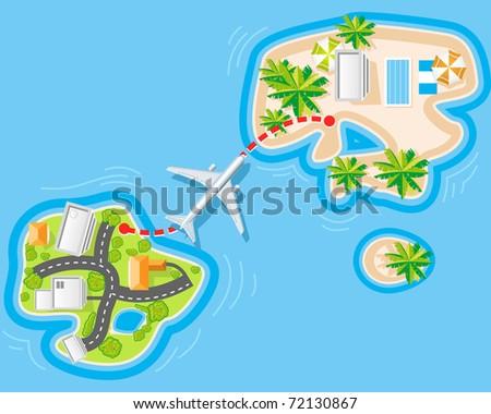 Flight to sea resort from noisy city