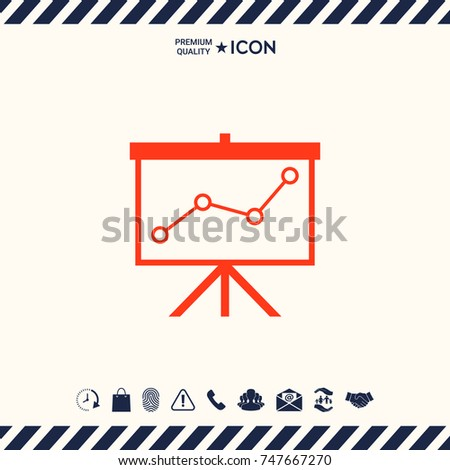 Flip-chart, projection screen with a graph.