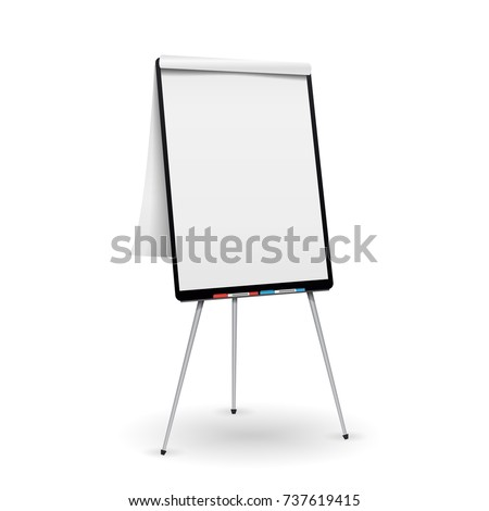 Flip Chart Vector. Office Whiteboard For Business Training. Isolated Illustration