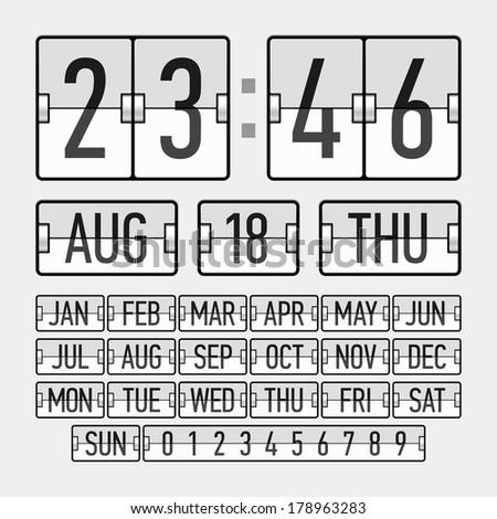 Vector scoreboard font  Realistic flip… Stock Photo 212991361