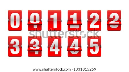 Flip countdown clock from 0 to 5 - red counter timer, time remaining count down scoreboard in half flipping variations with different digits
