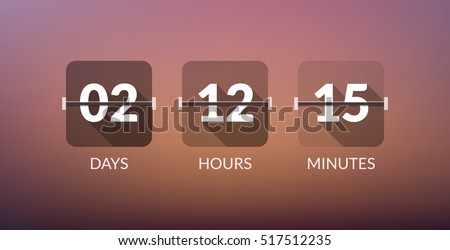 Flip Countdown timer vector clock counter. Flat count down day vector business sign.
