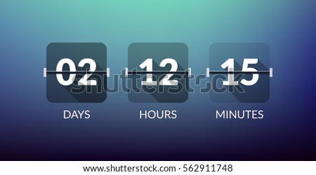 Flip Countdown timer vector clock counter. Flat count down day vector business sign