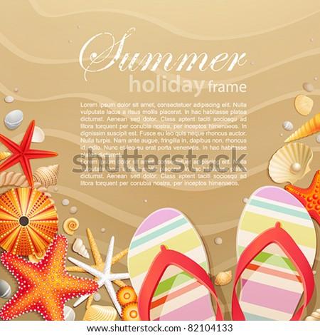 Flip-flops and shells on sand background. Vector illustration.