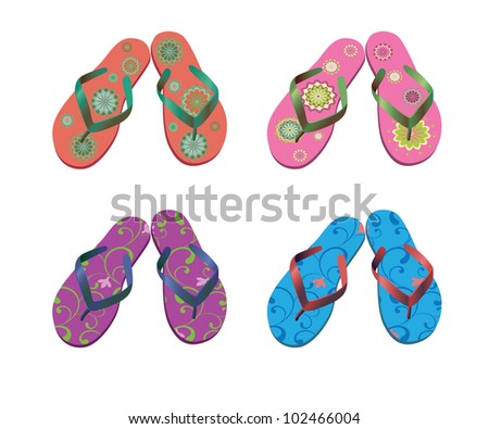 Flip flops. Beach sandals set isolated on a white background. Vector illustration.