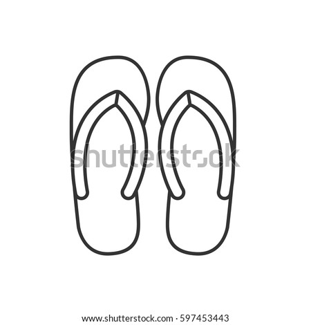 75ee8d0aafe835 Flip flops linear icon. Thin line illustration. Summer slippers contour  symbol. Vector isolated