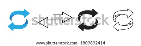 Flip over and turn arrow icon set on white background. Vector isolated element.