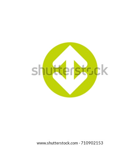 Flip Vertical vector icon. Two white opposite  arrows in green circle isolated on white. Flat icon. Exchange icon. Good for web and software interfaces.  Flip flop pictogram.