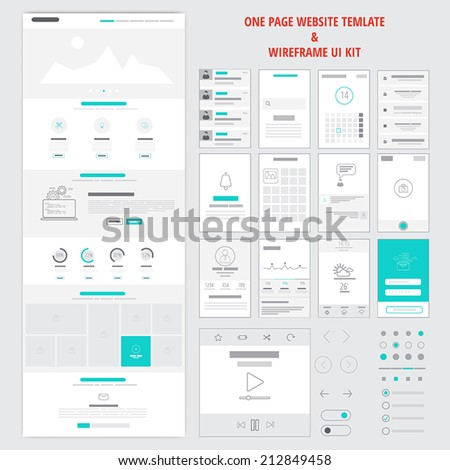fllat responsive one page website template and mobile app wireframe kit vector 212849458. Black Bedroom Furniture Sets. Home Design Ideas
