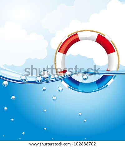 float over water with bubbles, background. vector illustration - stock vector