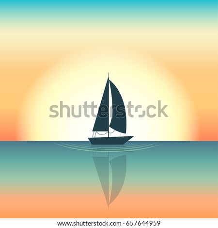 Floating boat Vector illustration Silhouette of a sailing boat floating in the middle of the sea Setting sun on background Cartoon style