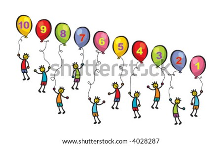floating boys and balloons with numbers (vector) - cartoon illustration