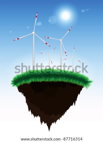 Floating island with grass and windmill power generators