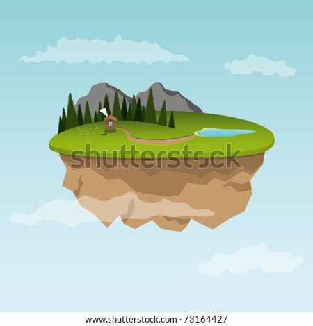 Floating island with small house. Vector illustration