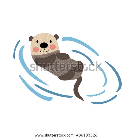 floating otter animal cartoon