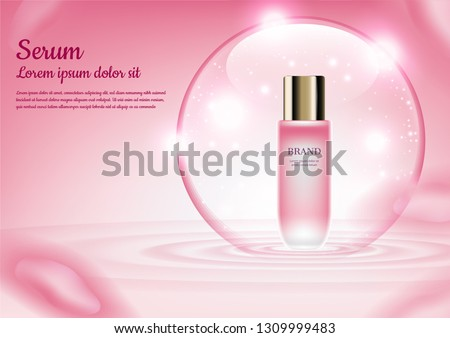 Floating serum in shiny bubble with concentric wave on pink background